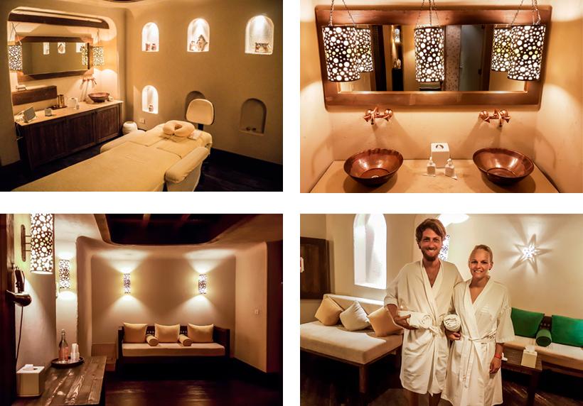 Massage- & Aufenthaltsbereiche / Reporter unter Palmen im offiziellen Relax-Outfit
