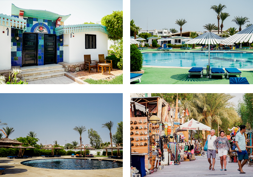 Bungalow und Poolbereiche des Ghazala Beach Hotels / Promenade in Gehweite