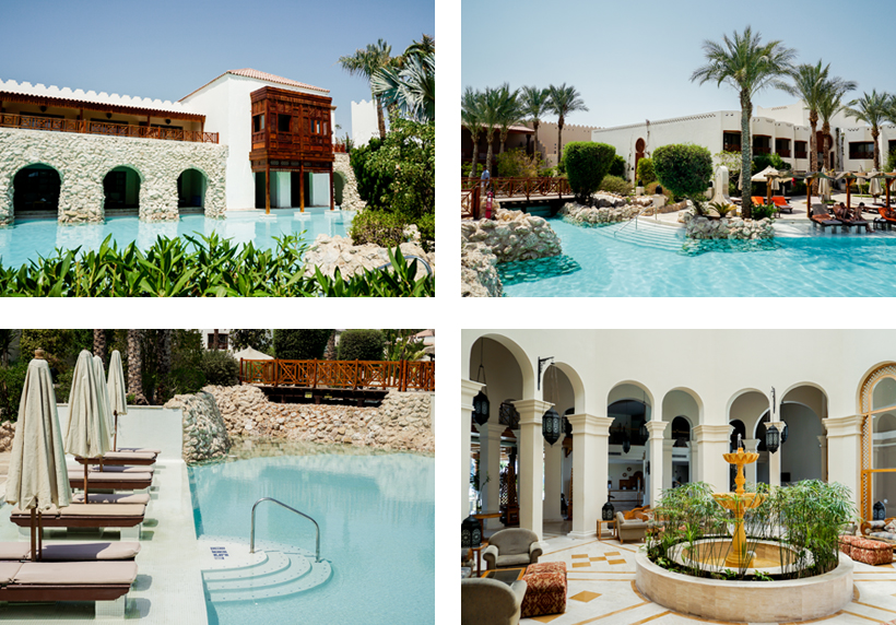 Poollandschaft des Ghazala Gardens & Lobbybereich