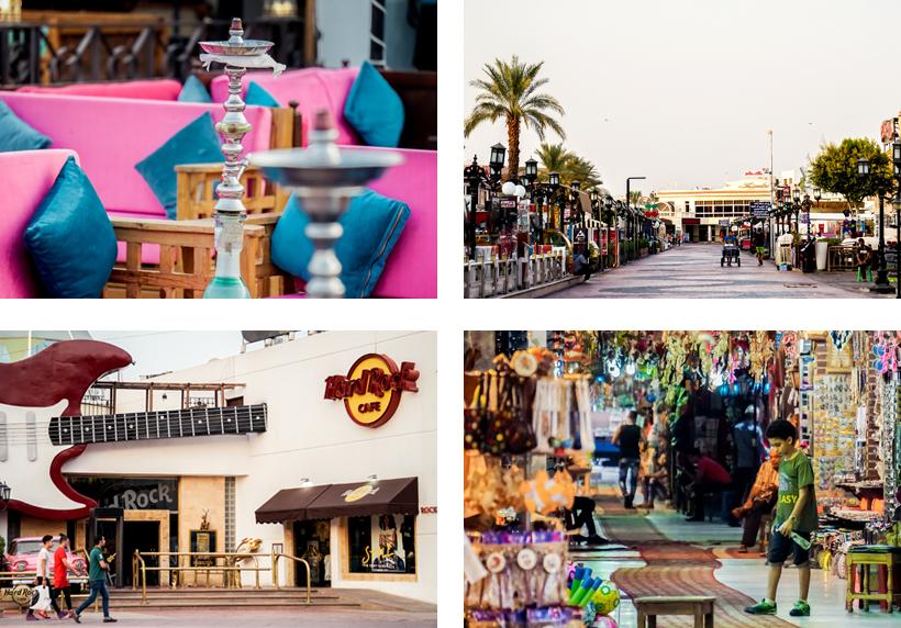 Stadtzentrum der Na'ama Bay mit Essens-, Unterhaltungs- & Einkaufsmöglichkeiten
