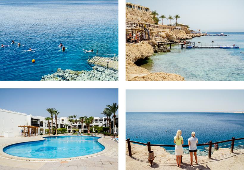 Pool- und Strandbereich mit Stegen zum hoteleigenen Hausriff