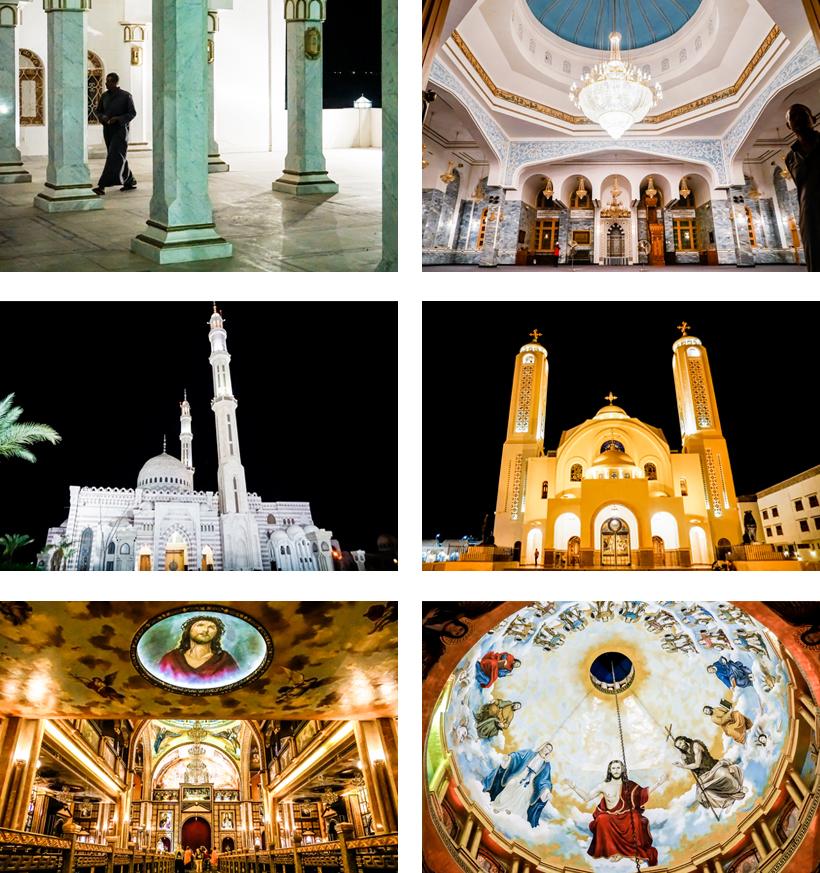 Außen- und Innenbereich von Moschee und orthodoxer Kirche