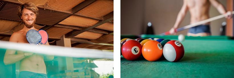 Wir haben uns in Tischtennis und Billiard geübt