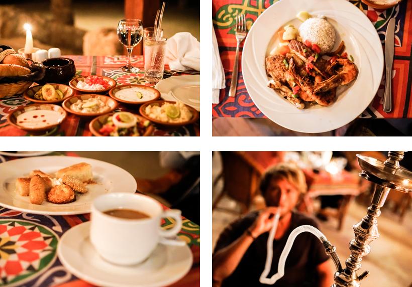 Orientalische Vorspeisen, der Seafood-Teller als Hauptgang und ägyptische Süßigkeiten inkl. Shisha
