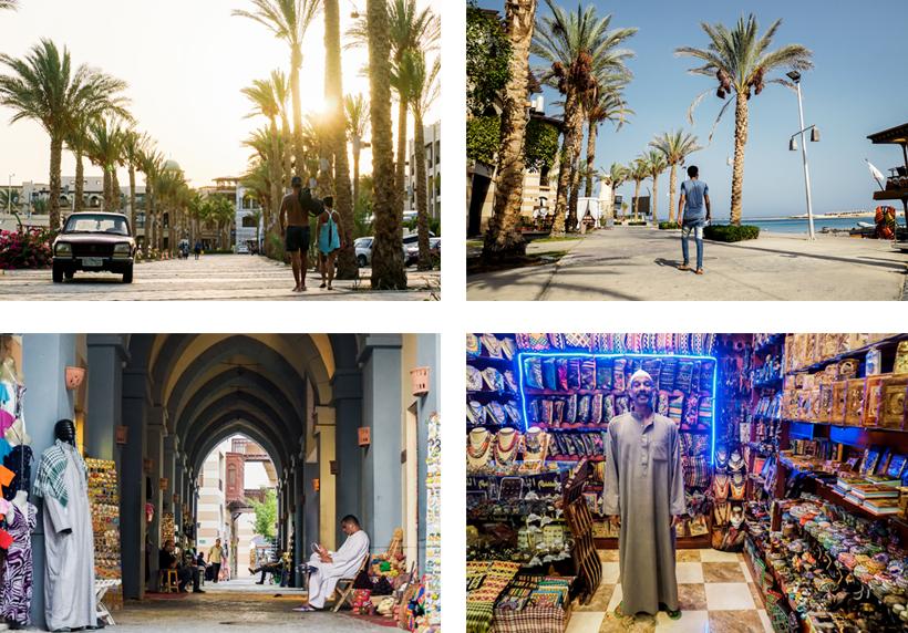 Palmenallee am Hafen & Geschäfte in den Gassen von Port Ghalib