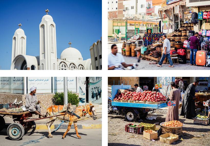 Koptische Kirche, Shops & Straßenverkäufer in der Altstadt von Hurghada