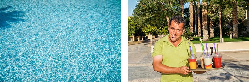 Relaxen am Pool / Smoothie Verkäufer am Weg zum Strand