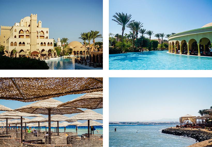 """Makadi Palace von außen / Pool inkl. Restaurant """"Dome"""" / Strandbereiche inkl. vorgelagertem Hausriff"""