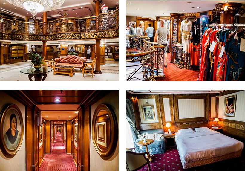 Lobby / Shop an Bord / Wohnbeispiel einer Kabine am Schiff