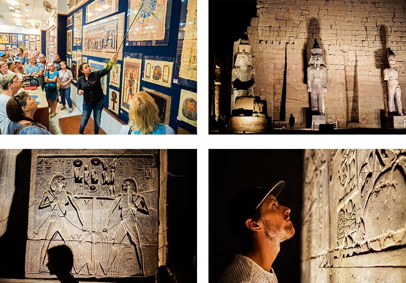 Besuch eines Papyrusmuseums / Luxor-Tempel beleuchtet bei Nacht