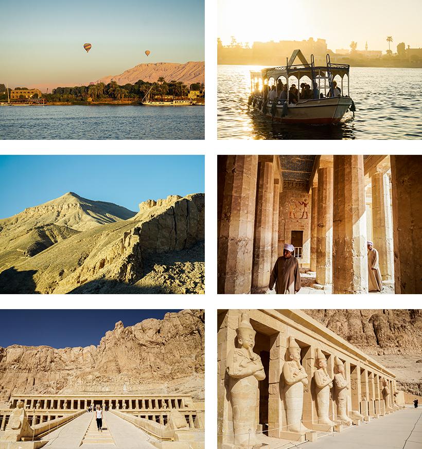 Das Tal der Könige aus der Ferne am westlichen Nilufer / Terrassentempel von Hatschepsut