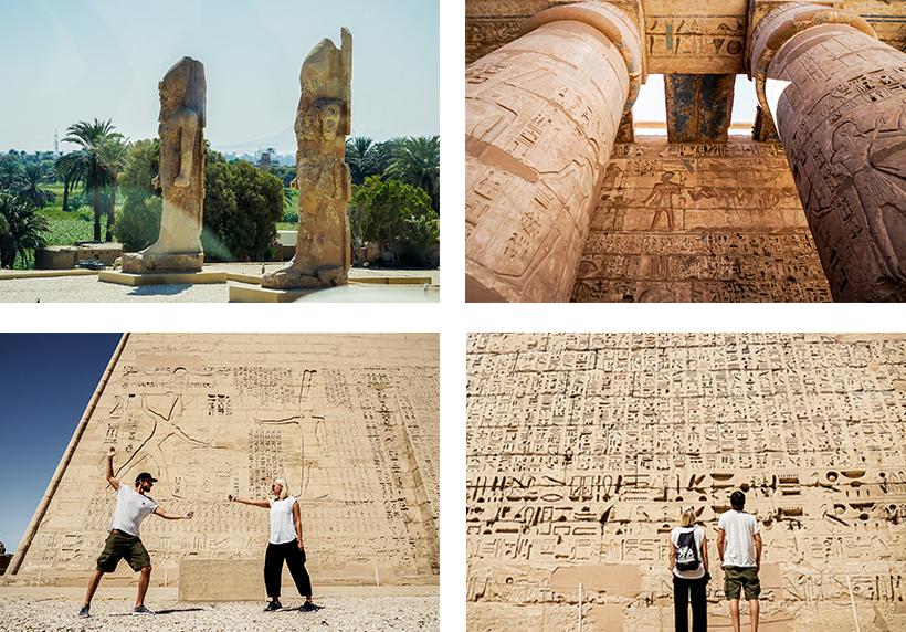 Die beiden Memnomkolosse / Beeindruckende Malereien und Hieroglyphen am Habu Tempel