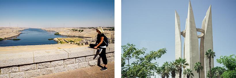Ausblick vom Assuan Staudamm / riesiges Denkmal am Rande vom Staudamm