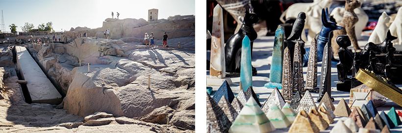 Unvollendeter Obelisk im Steinbruch / Kleine Souvenir-Obelisken aus Stein