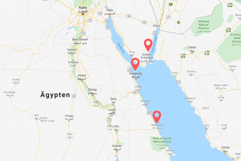 Karte mit Hurghada, Marsa Alam und Sharm El Sheikh in Ägypten
